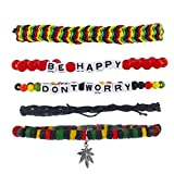 Lux Accessories Dont Worry Be Happy Rasta Weed Arm Candy Bracelet Set (5pc)