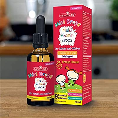 Natures Aid Multi-Vitamin and Minerals Drops for Infants and Children (50 ml, 9 Essential Vitamins and Minerals, Orange Flavour, Dropper Included, Sugar Free, Made in the UK) 3 Months to 5 Years