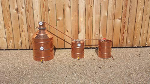 Stampede Stills Upgraded 10 Gallon Copper Moonshine Still + 3.3 Gallon Thumper + 3.3 Gallon Worm