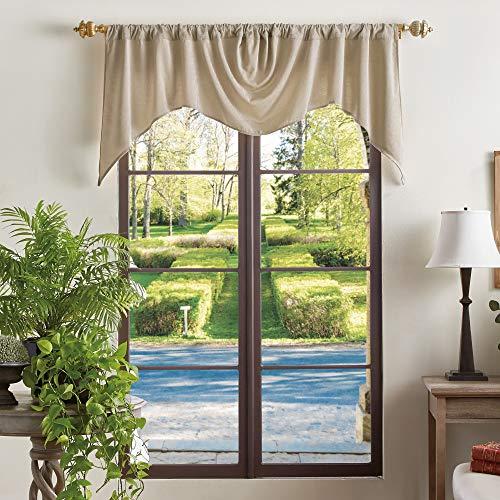 MARTHA STEWART Naples Chenille Solid Window Curtain Valance, Natural