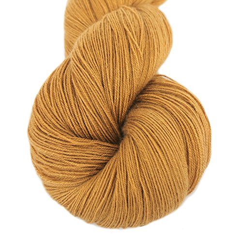 Lotus Yarns Lace Weight 1 Skein Cashmere Knitting Yarn Comfortable Soft Crochet Yarn Great for Baby Garments, Scarves, Hats, and Craft Projects (07-Gold)