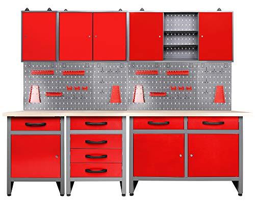 Ondis24 Werkstatt rot Werkstatteinrichtung 8 tlg. grau Werkbank Werkzeugschrank Lochwand