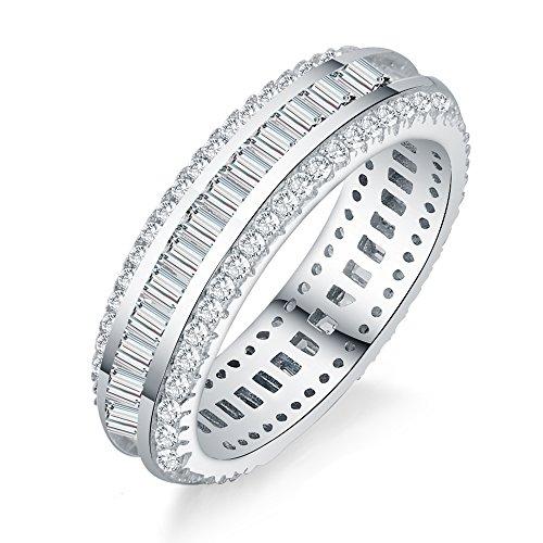 aoedej redondo y Baguette Cut CZ Plata de Ley 925aniversario de boda banda Eternity Ring