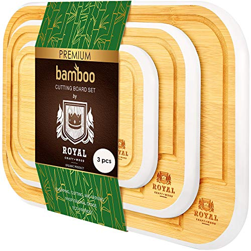 Bamboo Cutting Board with Juice Groove (3-Piece Set) - Best Kitchen Chopping Board for Meat (Butcher Block) Cheese and Vegetables (White)