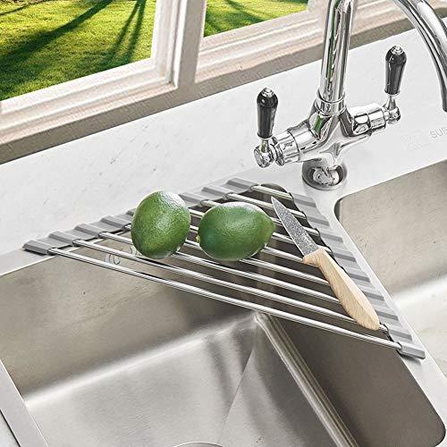 Anti-Rust Stainless Steel Caddy Sponge Holder Multi-function Roll-up Drying Rack for Sink Corner Kitchen Gray