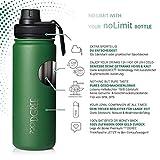 """720°DGREE Edelstahl Trinkflasche """"noLimit"""" – 1200ml - Auslaufsicher, Kohlensäure geeignet, BPA-Frei - Isolierflasche mit Schraubverschluss für Sport, Fitness, Outdoor +Gratis Sportdeckel - 2"""