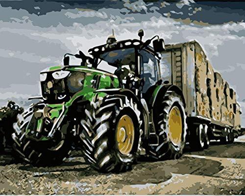 WLHZNBH Malen nach Zahlen Farm Und Traktor Bild Anfänger DIY Ölgemälde Kinder Erwachsene Malen Nach Zahlen Einfache Wohnkultur 40*50 cm (A) Mit Rahmen