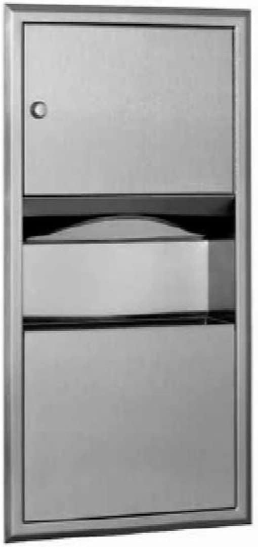 Satin Finish 11-7//16 Width x 18 Height Bobrick 318 304 Stainless Steel Recessed Paper Towel Dispenser