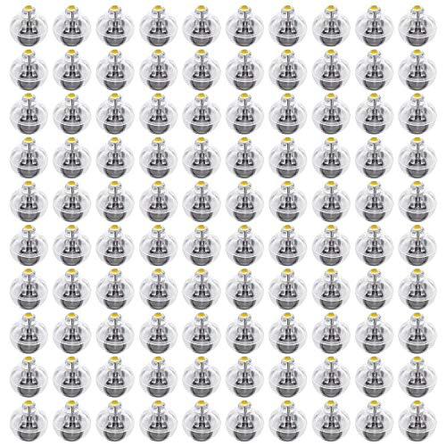 FEPITO 100 Piezas de Luces de Globo LED Mini linternas de Papel Luces cálida lámpara de Bola Amarilla para Navidad Feliz año Nuevo decoración de Fiesta