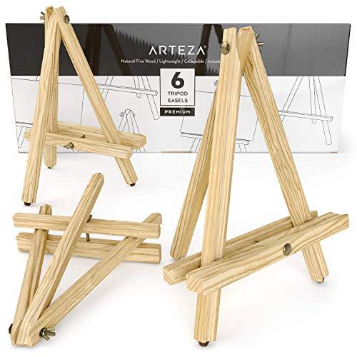 ARTEZA Caballetes de pintura | Altura 30,48 cm | Pack de 6 atriles de mesa para pintar | Trípodes de madera de pino con patas antideslizantes | Ideales para lienzos pequeños y medianos