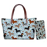 Xhuibop Dachshund Womens Wallets Leather for Travel Shoulder Bag Purse Top Handle Handbags with Pockets Ladies Tote Bags for Work Daily Use