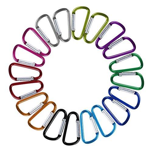Dekool 20 Pezzi Moschettone in Alluminio D-Ring Moschettoni per Campeggio Esterni Casa, Caravan,Campeggio, Pesca, Escursioni, Viaggi, Portachiavi Ecc
