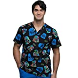 Cherokee Tooniforms Men's V-Neck Star Wars Print Scrub Top Small Print