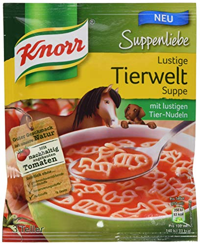 Knorr Suppenliebe Lustige Tierweltsuppe mit lustigen Tier-Nudeln, 3 Teller, 13er Pack (13 x 71 g)