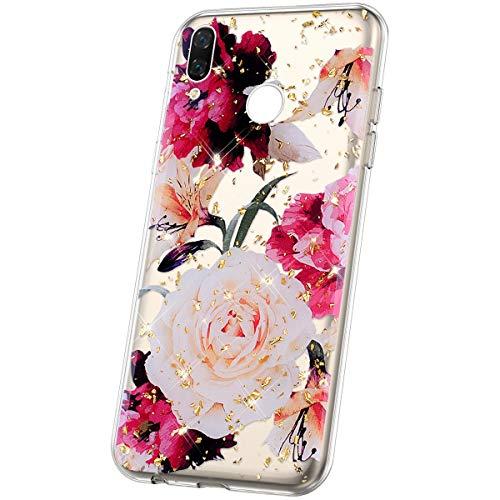 JAWSEU Compatible avec Coque Note 7 Transparente Silicone Glitter Paillette Brillant Belle Coloré Motif Slim Souple TPU Cristal Clair Housse per Note 7,Fleur