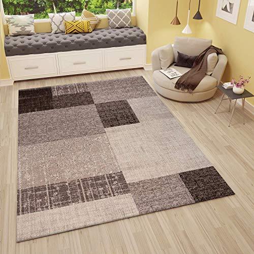 VIMODA Wohnzimmer Teppich Kurzflor in Beige Braun Designer Teppiche Modern Kachel-Optik Kariert Pflegeleicht, Maße:120x170 cm