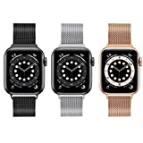 3 Pack Compatible with Magnetic Apple Watch Band 38mm 40mm 42mm 44mm,Stainless Steel Mesh Loop Replacement Wristband Strap Bracelet for iWatch Series 6/5/4/3/2/1 SE