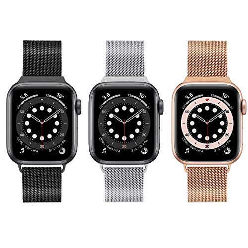 3 Pack Compatible with Apple Watch Band 38mm 40mm 42mm 44mm,Stainless Steel Mesh Loop Replacement Wristband Strap Bracelet for iWatch Series 6/5/4/3/2/1 SE