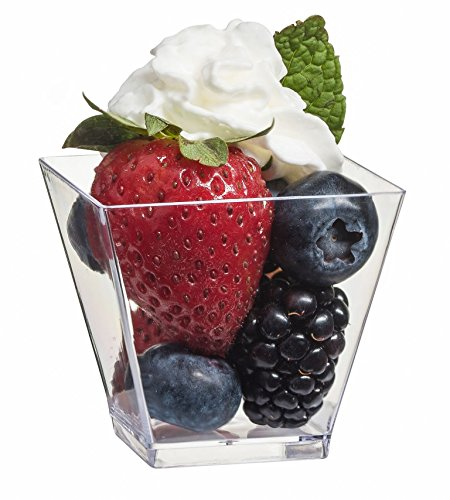 Zappy Elegant Square Mini Cube 2oz Clear Tasting Sample Shot Glasses 40 Ct Dessert Cups