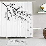 QYUESHANG Duschvorhang Sets mit rutschfesten Teppichen,Blüte blühender Zweig Japanische Kirsche Maibaum Blume Natur Hochzeit Blumenzeichnung Schönheit Blüte, Badematte + Duschvorhang mit 12 Haken