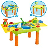 deAO Sand and Water Outdoor Activities Play Table for Kids with Double Compartment, Lids and Over 10 Accessories