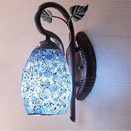 DYXYH Lámpara de Pared Antigua China Dormitorio Creativo Sala de Estar Porche luz de Pared Personalidad Vidrio Azul lámpara de Pared de Porcelana Azul y Blanca