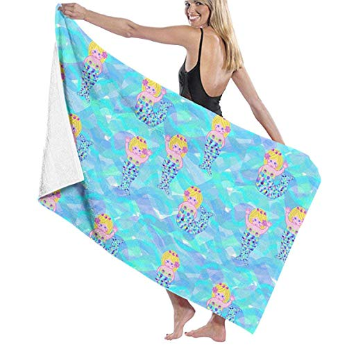Toallas de baño de playa con temática sirena divertida azul 80X130 cm