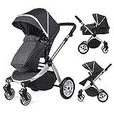 Multi cochecito 2 en 1 Carrito Bebe Hot Mom silla de paseo el capazo se convierte fácilmente en una silla y viceversa 2020 estilo de vida 889, Asiento para bebé vendido por separado - Negro