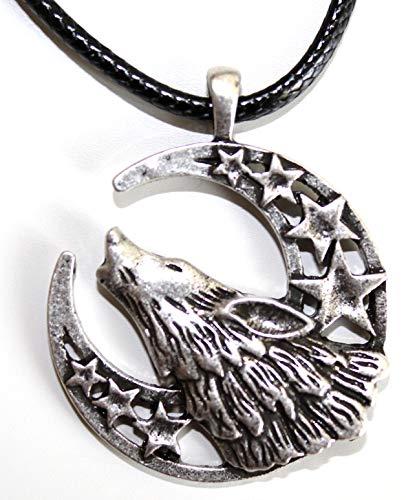 Collar Lobo bajo a la Luna Creciente┬а-┬аBijou de Luna con Estrellas┬а-┬аAnimal Viking Totem del Coraje y de la Force┬а-┬аs├Гmbolo Tribal Rune Celta Caza┬а-┬аRegalo Original Hombre Mujer Unisex