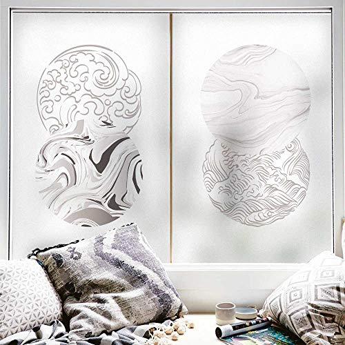 N / A Gebeizte mattierte Fensterfolie Privatsphäre Anti-klebrige kleberfreie Aufkleber Selbstklebende Fenster Badezimmer Schlafzimmer Büro zur Reduzierung von UV B1 45x120cm