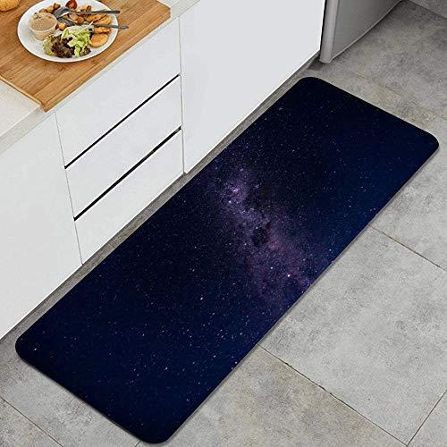 PATINISA Alfombra de Cocina,Vía Láctea Estelar Nebulosas Senderos Naturaleza Telescopio Natural,Antideslizante Estera Cocina Lavable Alfombrillas Absorbentes Pasillo alfombras,120x45cm