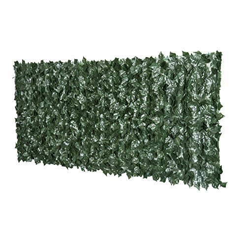 Outsunny Artificial Leaf Hedge Screen Privacy Fence Panel for Garden Outdoor Indoor Decor 2.4M x 1M Dark Green