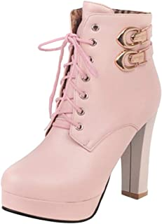 TAOFFEN Fashion Women Martin Boots with HGH Heels Boots