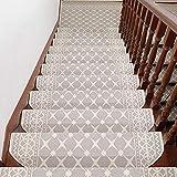 LANGNIU 17 Piezas de Alfombrilla para escaleras de Estilo Europeo Alfombra Antideslizante autoadhesiva sin Pegamento para el hogar Alfombra de Escalera de Caracol Interior