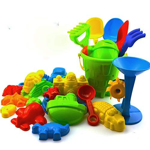 Qinlee 25 Stück Bunt Strand Spielzeug Sand Eimer Set Sandkasten Spielzeug Sand Schloss Set fur kinder (Dusche+Tier+Schaufel+Gabel+Fass+Schloss)