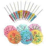SAVITA 50 Piezas Sombrillas de Cóctel Color Tropical Sombrillas para Bebidas Sombrillas para Cócteles para Bebidas Decorativas Fiesta Bar Postre Actividades al Aire Libre