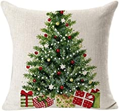 Square Throw Pillow Case Cotton Linen Pillow Cover Decorative Merry Christmas Polygons Xmas Tree Cushion Covers for Home Couch/Bed/Sofa/Car/Cafe/Movie Theater 24x24 Inch
