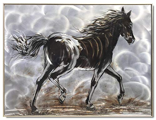 Yihui Arts Horse Metal Wall Art Modern Abstract Black And White Pictures With Framed For Living Room Decoration (Horse, 24x32IN)