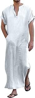 Men's V-Neck Short Sleeve Robe Side Split Kaftan Cotton Long Gown Thobe S-3XL