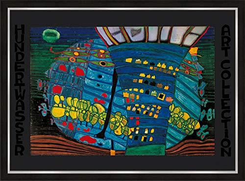 artissimo, Premium-Kunstdruck gerahmt, 72x53cm, AG4694, Friedensreich Hundertwasser: Der balue Mond - Atlantis, Bild mit Rahmen, Wandbild, Poster, Wanddekoration