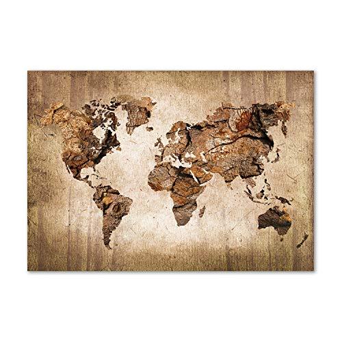 Tulup Glas-Bild Wandbild aus Glas - Wandkunst - Wandbild hinter gehärtetem Sicherheitsglas - Dekorative Wand für Küche & Wohnzimmer 100x70 - Landkarten & Flaggen - Weltkarte Holz - Braun