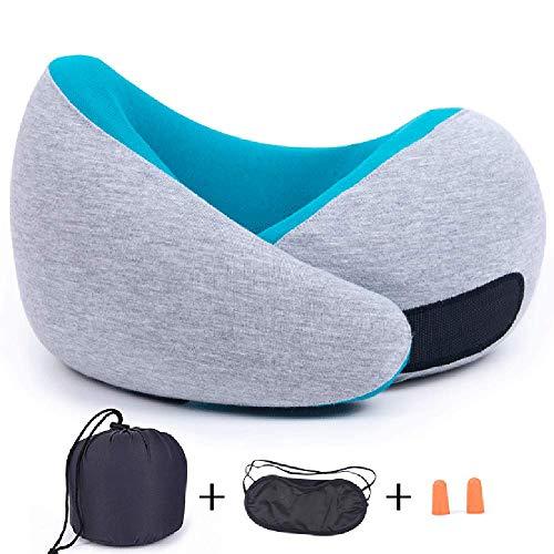 Preisvergleich Produktbild HGDR Nackenkissen für Reisen Nackenkopfstützkissen Memory Foam Schlafkissen mit Tragetasche,  Augenmaske und Ohrstöpsel, Blue-25 * 25 * 12 cm