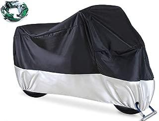 manfa Cubierta de Motocicleta Cubierta Impermeable para Motocicleta, Cubiertas de Motocicleta Ohuhu para Todas Las Estaciones con Orificios de Bloqueo, XXL Negro-Plata