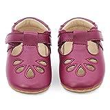 Dotty Fish Lujosos Zapatos de Cuero para bebés, para Fiestas, Bodas y Otras Ocasiones Especiales. Pepitos en Ciruela. 18.5 EU