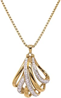 Bevilles Yellow Stainless Steel Crystal Crossover Necklace