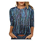 SoeHir Womens Fashion Round Neck Printed Long Sleeve Loose Casual T-Shirt Blouse Blue