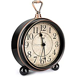 Classic Retro Alarm Clock, INTSUN Bed Alarm Clock Battery Operated Desk Clock Metal Silent Alarm Clock for Bedrooms, Non Ticking (Black, Battery Excluded)