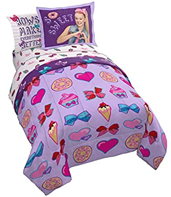 Jay Franco Nickelodeon JoJo Siwa Sweet Life 5 Piece Twin Bed Set - Includes Reversible Comforter & Sheet Set Bedding - Super Soft Fade Resistant Microfiber - (Official Nickelodeon Product)