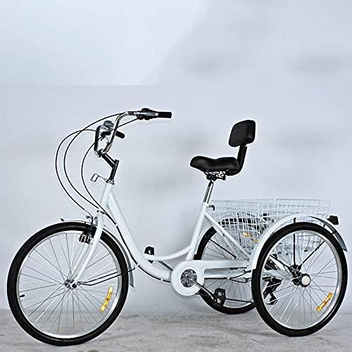 Triciclo para adultos bicicleta 24hree Wheel Cruiser Bike 7 Velocidad Triciclos Adultos 3 Ruedas Bicicletas Manillares Ajustables Con Cesta De Compras Y Canasta Del Respaldo Del Asiento,(Color:blanco)