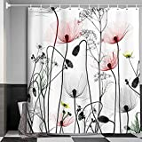 MERCHR Floral Flower Shower Curtain for Bathroom, Pink and Gray Shower Curtains Set, Artistic Elegant Wildflower Bath Curtains Waterproof Fabric, 71x71 Inches